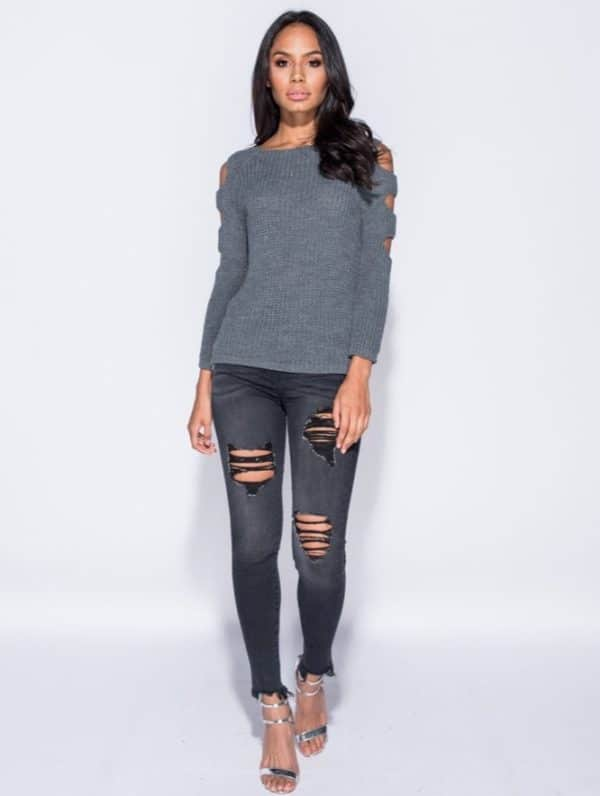 Sveter Cut Out Sleeve