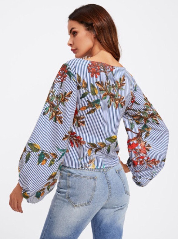 damska bluzka flower bow zozadu