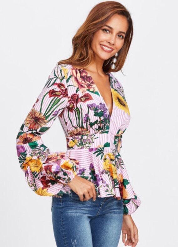 damska bluzka flower pink zboku